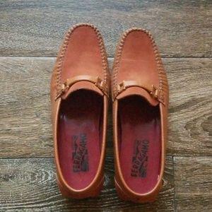Salvatore Ferragamo orange flats loafers moccasins